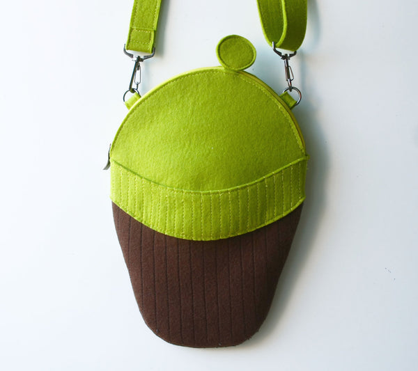 Hipster Head Bag Green Bearded Man Geek Felt Purse