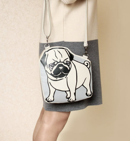 Leather Pug Purse Beige Dog Bag