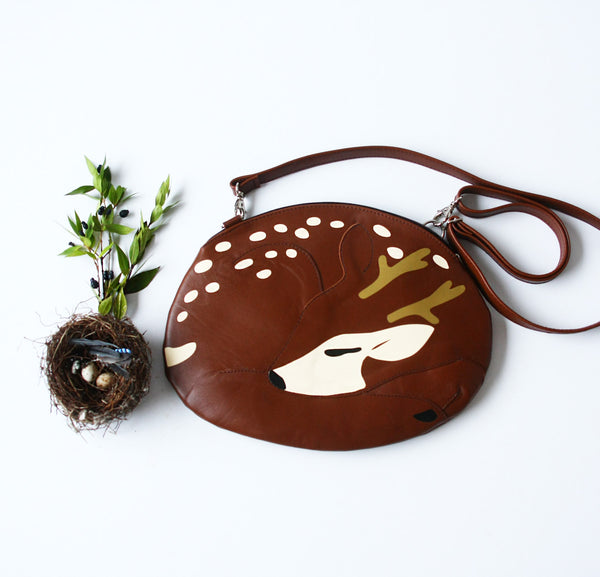 Sleeping Deer Bag Deer Purse Sleeping Reindeer Bag