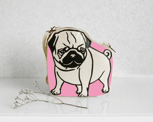Leather Pug Purse Beige Dog Bag Pug Purse