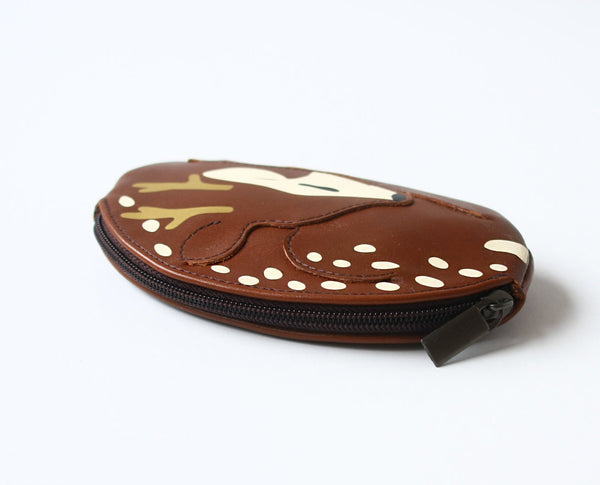 Sleeping Reindeer Pouch Brown Leather Pouch