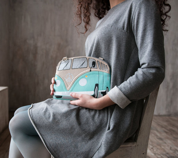 Mint and Beige  Leather VW Purse
