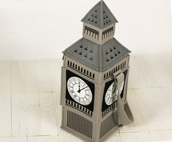 Beige Felt Designer Bag Big Ben Tower Felt Bag