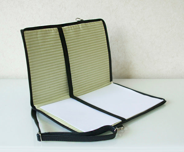 Leather Document Folder Music Keyboard Black And White Bag