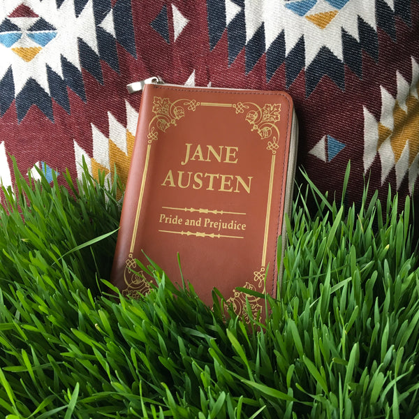 Jane Austen Book Wallet Women Wallet Small Pride and Pejudice Book Cover Leather Wallet Woman Wallet Vegan Black Wallet Leather