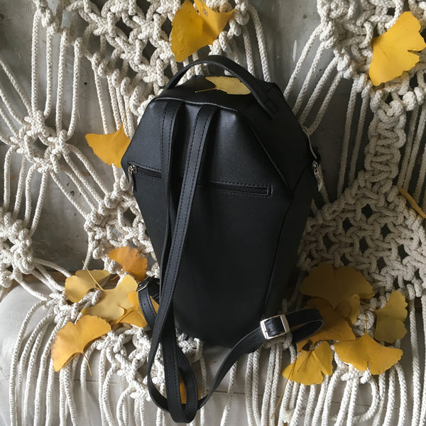 Coffin Backpack Black Leather Backpack Gothic Backpack Coffin Bag