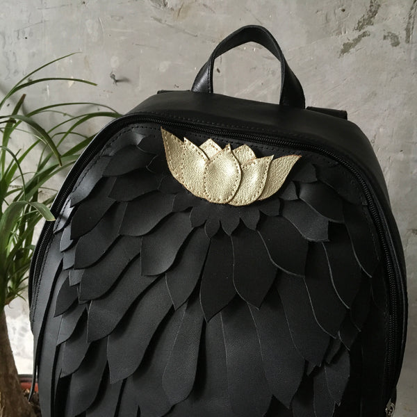 Black Wing Backpack Black Leather Backpack Lotus Wings Backpack Leather Wing Bag Black Angel's Wings Unusual Backpack