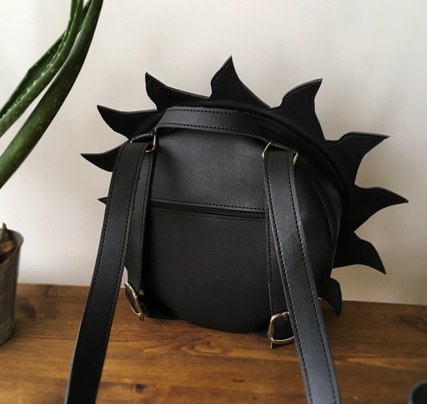 Black Sun Leather Backpack Unusual Backpack Angry Sun Leather Backpack Black Sun Bag Angry Sun Bag