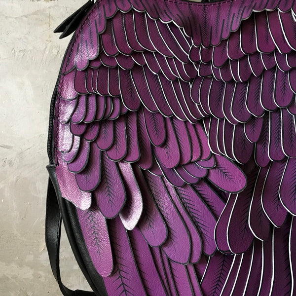 Purple Leather Backpack Unique Wings Backpack