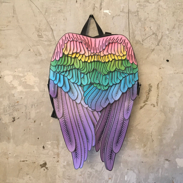 Pastel Rainbow Backpack Leather Backpack Rainbow Wings Backpack Pastel Rainbow Leather Backpack Wing Back Pack