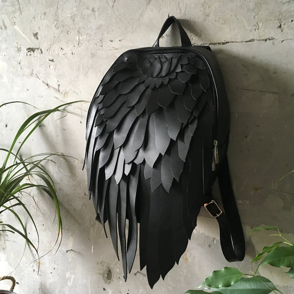 Black Wings Backpack Black Leather Wings Backpack Leather Black Angel Wings Backpack