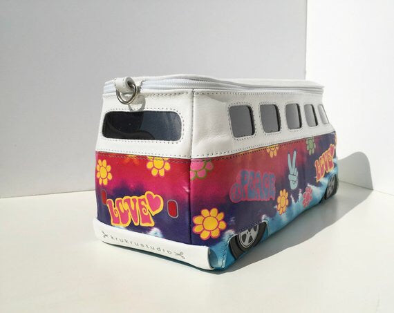 Hippie Volkswagen Bag Flower Design VW Transporter Bus Purse