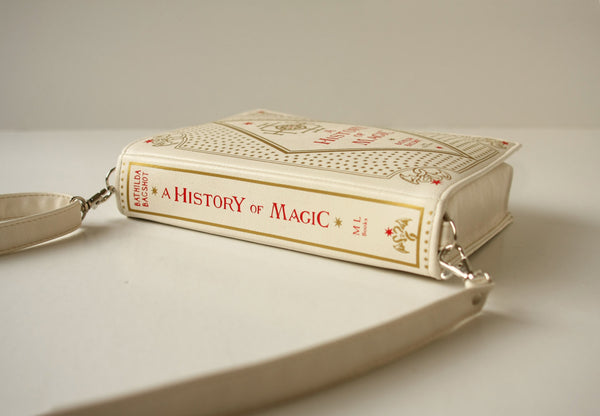 Beige Leather Bag A History of Magic Bookbag Unusual Book Bag
