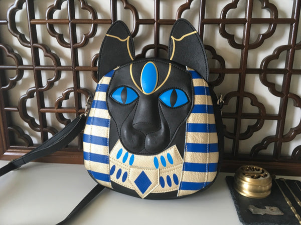Bastet Bag Egyptian Cat Goddess Bag Unusual Bag Black Eco Leather Bag