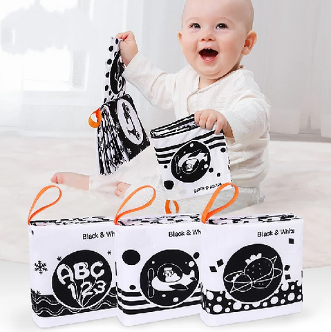Cloth Books Black White Soft Baby Toys 3PCS - My Urban One