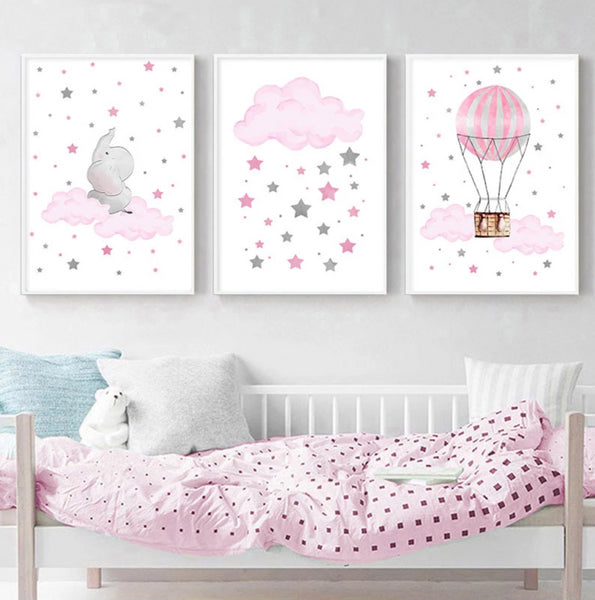 Cloud Balloon Baby Nursery Wall Art Canvas Poster - My Urban One