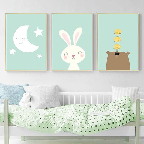 Nursery Cartoon Animal Wall Art - My Urban One