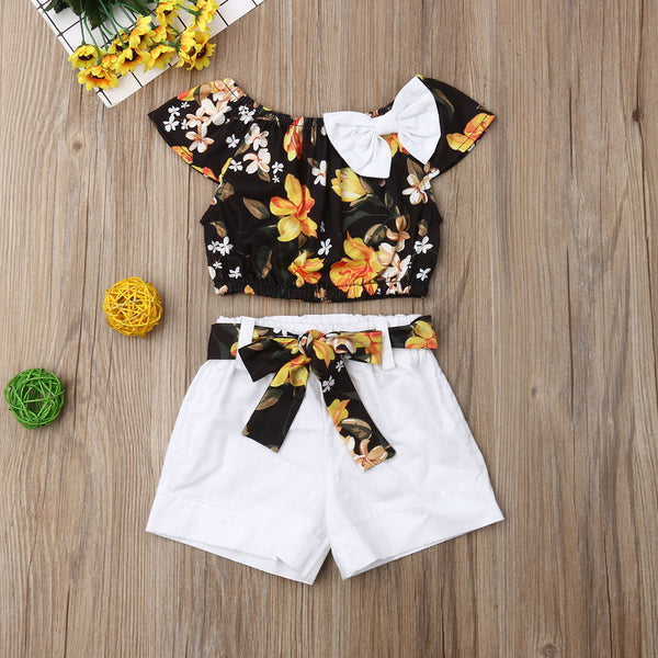 Summer Outfits Floral Top T-shirt Solid and Shorts - My Urban One