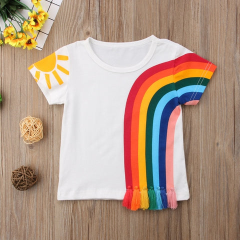 Rainbow Sun Tassel Patchwork Cotton T-Shirt - My Urban One