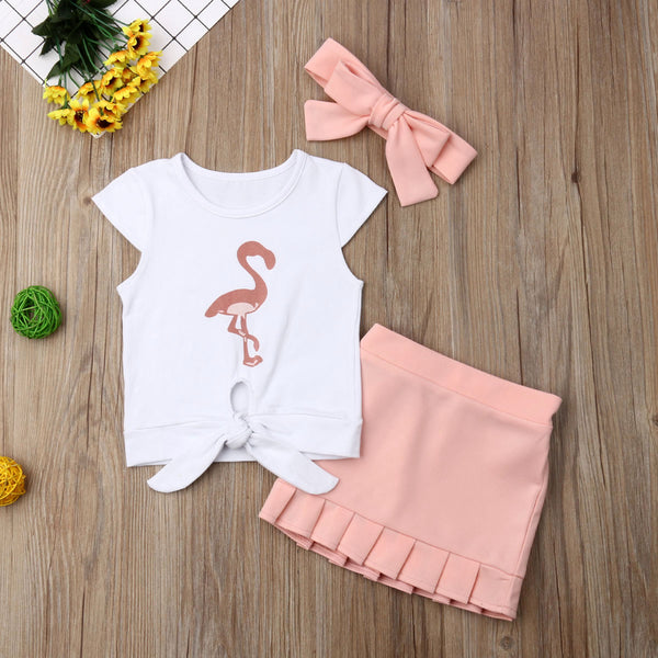 Flamingo Tank Top Tassels T-shirt and Short Skirts with Headband - My Urban One