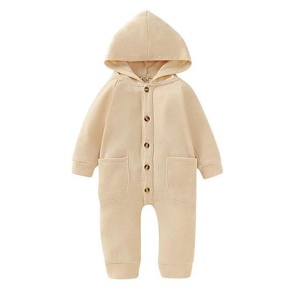 Long Sleeve Button Hooded Romper - My Urban One