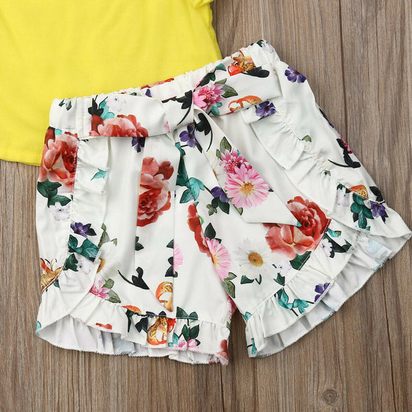 Ruffles Sleeve Tops and Floral Shorts Pants - My Urban One