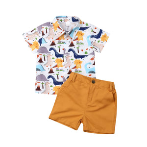 Cartoon Printed T-shirt Top and Solid Shorts - My Urban One
