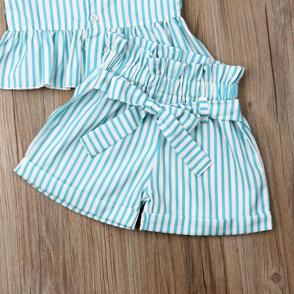 Summer Strap Stripe Tops and Bow-knot Belt Shorts - My Urban One