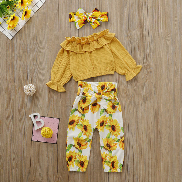 Sunflower Printed Summer 3pcs Outfit - My Urban One