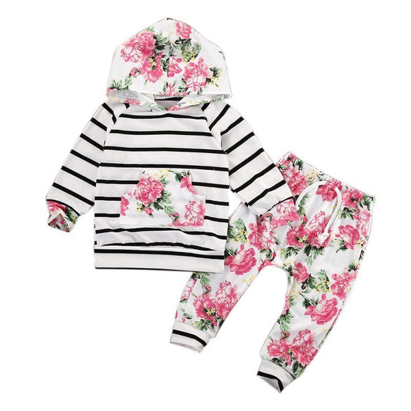 Hooded Pullover Floral Striped Jacket and Pants - My Urban One
