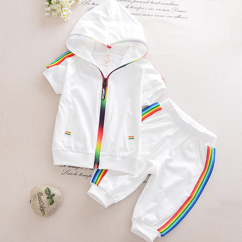 Short Sleeve Colorful Zipper Hooded Clothing Set