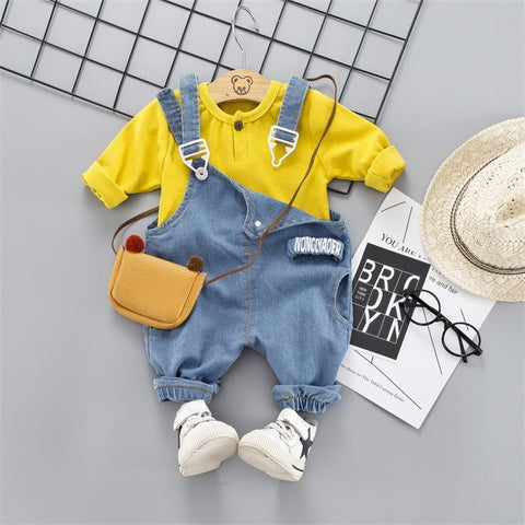 Casual Long Sleeve T-Shirt and Denim Overalls - My Urban One