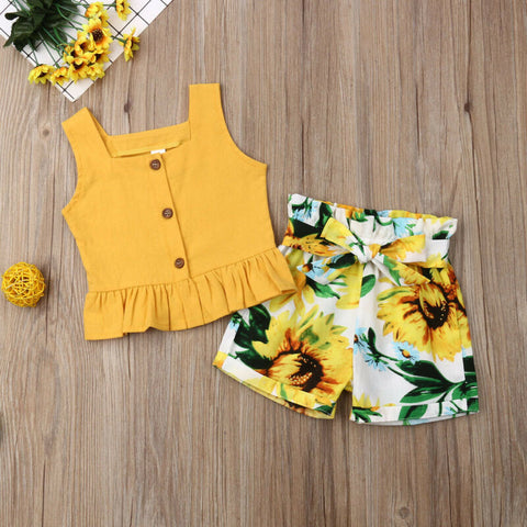 Sleeveless Tank Tops and Sunflower Shorts Summer Outfit - My Urban One