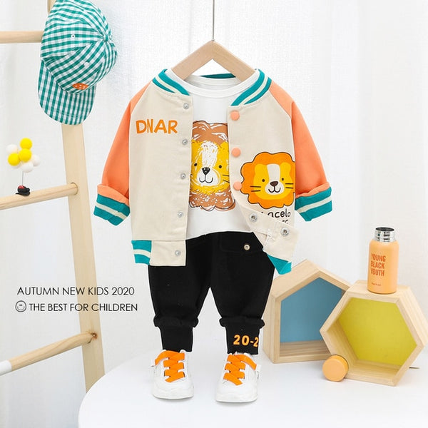 Cartoon Coats T Shirt Pants Clothing Set