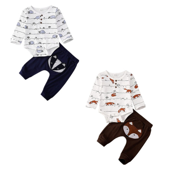 Animals Print Long Sleeve Tops Romper And Long Pants Set
