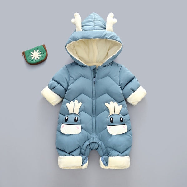Hooded Baby Winter Rompers