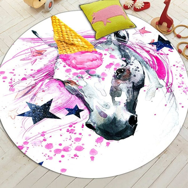 Cute Unicorn Round Mat - My Urban One