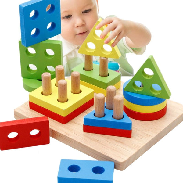 Rainbow Wooden Geometric Shape Matching Toy - My Urban One