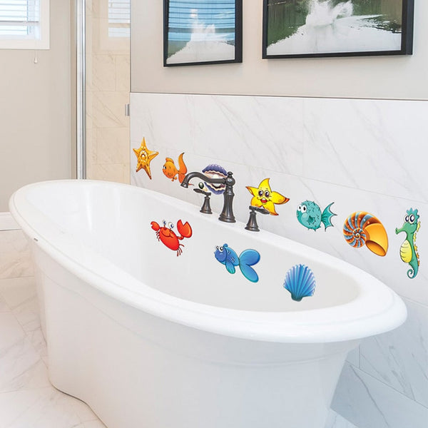 Sea Fish Cartoon Bathtub and Wall Bathroom Sticker - My Urban One