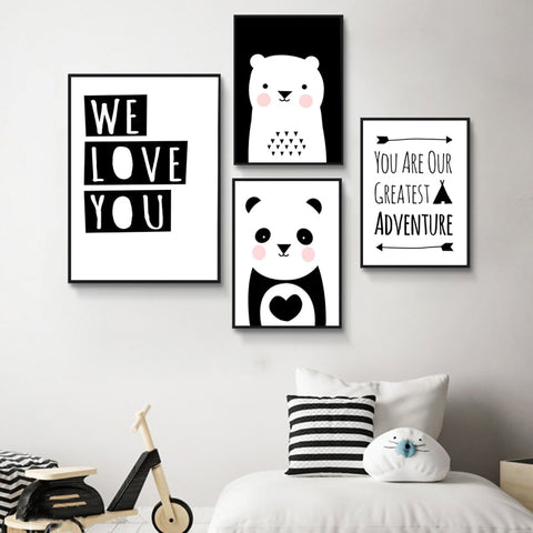 Animal Painting Bear Panda Nordic Wall Art Canvas - My Urban One