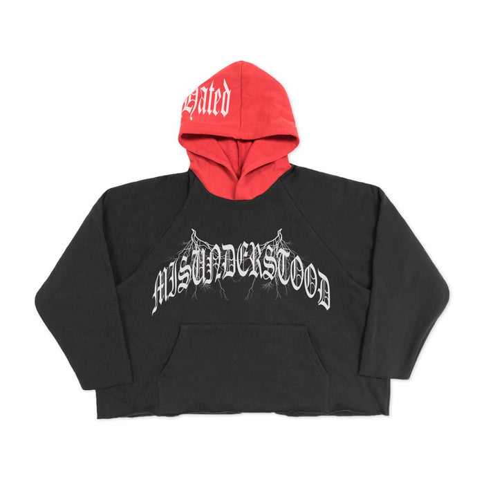 MOST HATED MISUNDERSTOOD CROP HOODIE - BLACK/RED