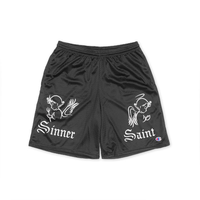 SINNER SAINT MESH SHORTS - BLACK