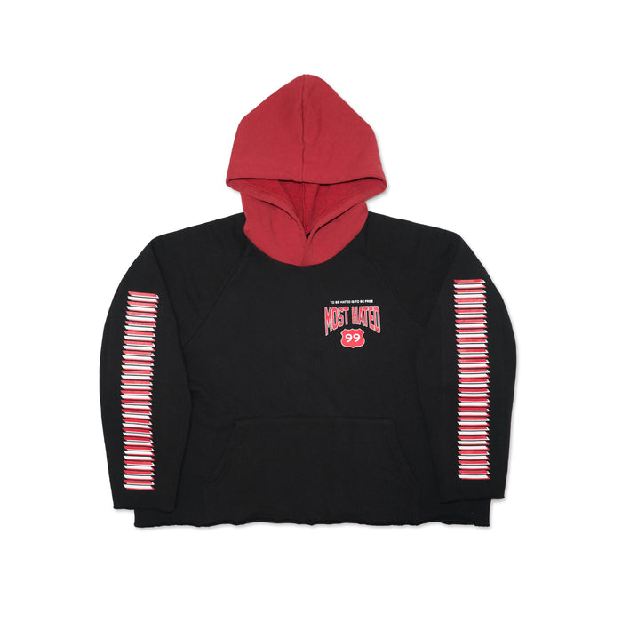 MOST HATED 99 CROP HOODIE - BLACK/RED