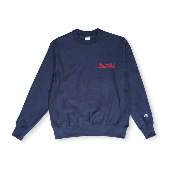 Most Hated Champion Crewneck Sweatshirt - Navy