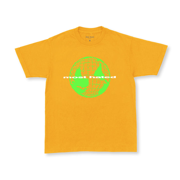 "MOST HATED ""WORLD UPSIDE DOWN"" TEE - GOLD"
