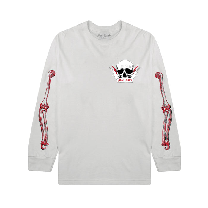 MOST HATED PARTY SKULL L/S TEE - WHITE