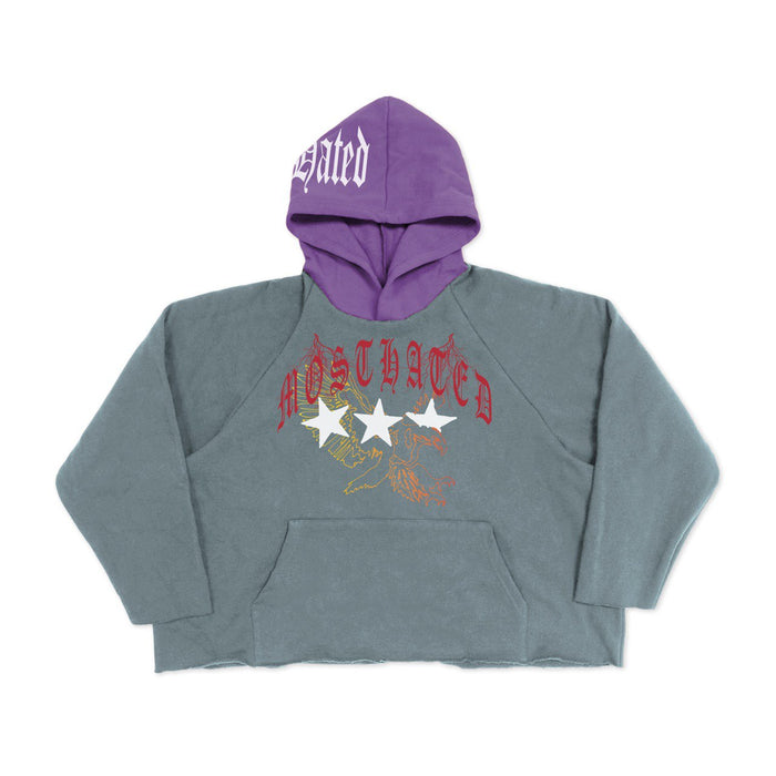MOST HATED EAGLE CROP HOODIE - SLATE BLUE/PURPLE