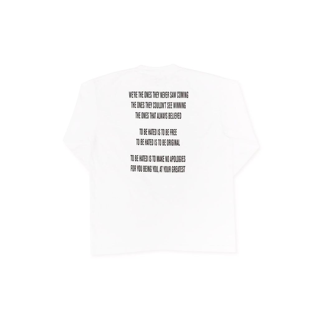 "MOST HATED LONGSLEEVE ""MESSAGE"" TEE - WHITE"