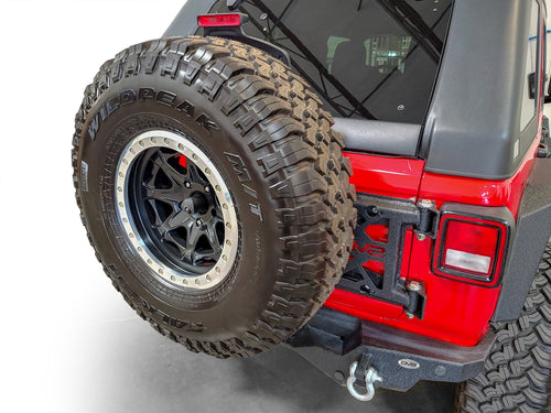 HD Easy Open Hinge Replacement Spare Tire Carrier by DV8 Offroad (18+ Wrangler JL)