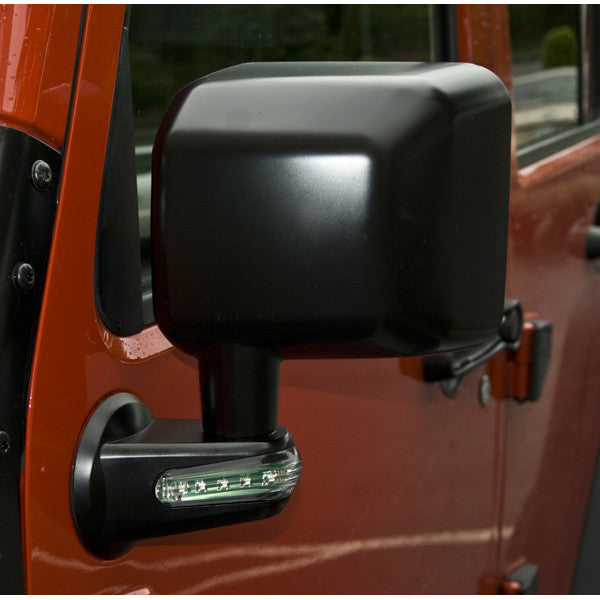 Door Mirror with LED Signals, Black, Left by Rugged Ridge ('07-'18 Jeep Wrangler JK)